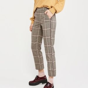 Beige and Burgundy Plaid Trousers